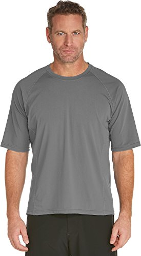 Coolibar UPF 50+ Men's Swim Shirt - Sun Protective (X-Large - Pomice Grey)