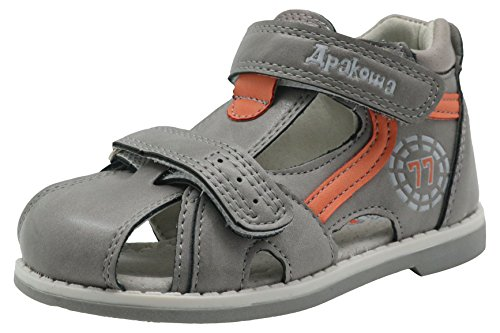 (Apakowa Boy's and Girl's Double Adjustable Strap Closed-Toe Sandals (5 M US Toddler, Grey/Orange))