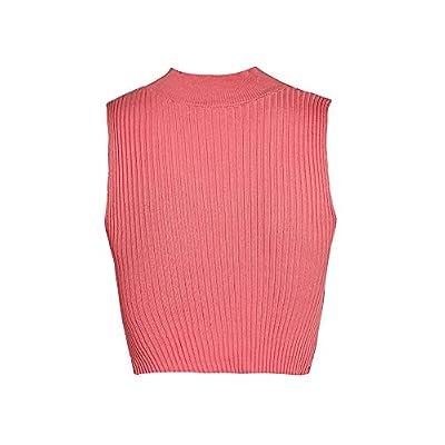 GLIENST Womens Choker V Neck Tank Top Sleeveless Cut Out Knit Cross Wrap Crop Top Vest Shirt at Women's Clothing store