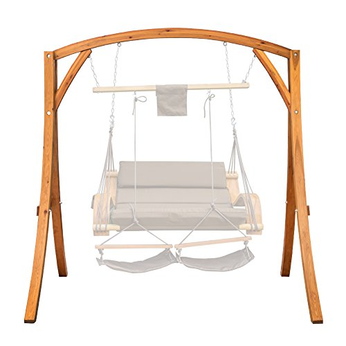 Pine Swing Stand - Lazy Daze Hammocks Deluxe Wooden Arc Frame Hammock Swing Chair Stand Heavy Duty Russian Pine Hardwood, Weight Capacity 450 lbs