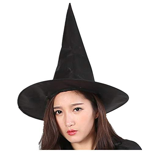 Luckygoo Halloween Witch hat Halloween Witch Party Cosplay Large Black Witch Hat for Women Costume Accessory -