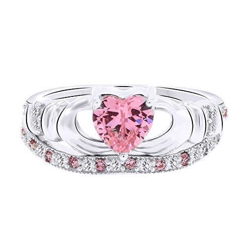 (AFFY Simulated Pink Sapphire & White CZ Claddagh Bridal Ring Set in 925 Sterling Silver 1.51Ct)