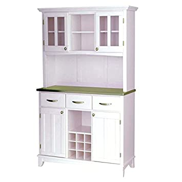 Home Styles 5100-0023-22 5001 Series Stainless Steel Top Buffet Server and Hutch - White Finish
