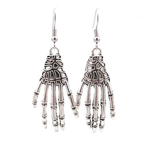 (Sterling Silver Plated Retro Punk Skull bones Joints hands Charm Tassel Drop Dangle Earrings for Halloween)