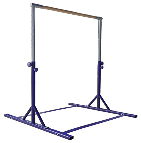 Z-Athletic Expandable Kip Bar Adjustable Height for Gymnastics, Training & 4ft x 6ft x 2in Mat (Purple)