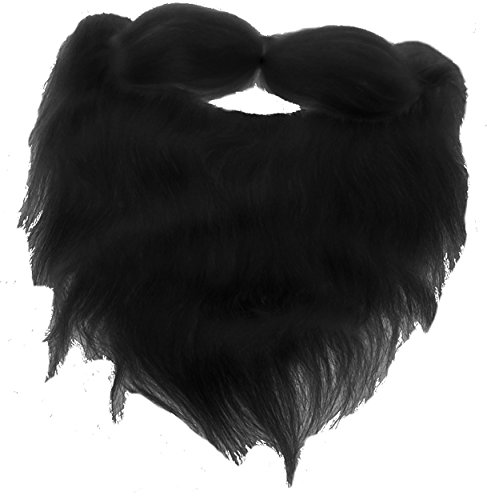 Fake Beard And Mustache (Fake Beard and Mustache Halloween Costume Accessory-Black-8