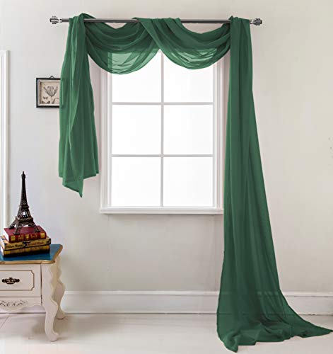 Hunter Green Window - RT Designers Collection Celine Sheer 55 x 216 in. Sheer Curtain Scarf, Hunter Green