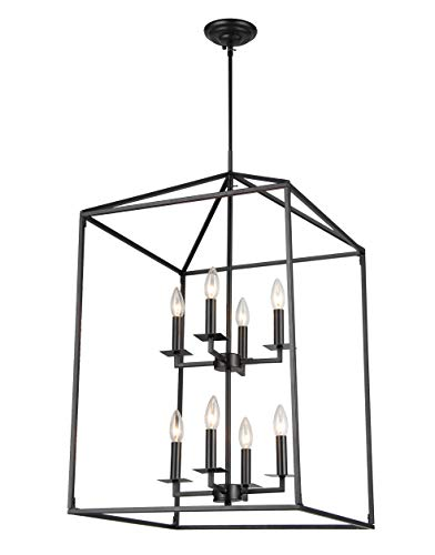 Cage Pendant Light Eight Lights Hall Candle-Style Chandelier Ceiling Light Fixture for Hallway Dinning Room Kitchen Bar Restaurant (H30