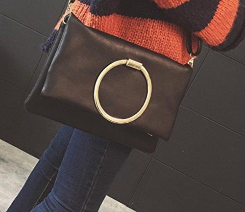 YCMDM Donna Primavera nuovo round della busta del sacchetto di modo sacchetto di spalla classico Messenger Bag , black