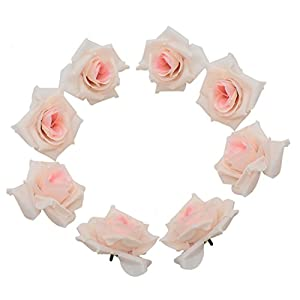 HUELE 50psc Artificial Flowers Bulk, Fake Roses Flowers Head for Crafts Wedding Home Decorations 9