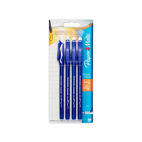 Paper Mate EraserMate Stick Ballpoint Pen, Medium Point, Blue Ink, 5-Count