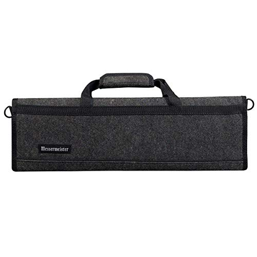 Messermeister 8 Pocket Felt Knife Storage Roll/Bag/Luggage - Charcoal Gray ()