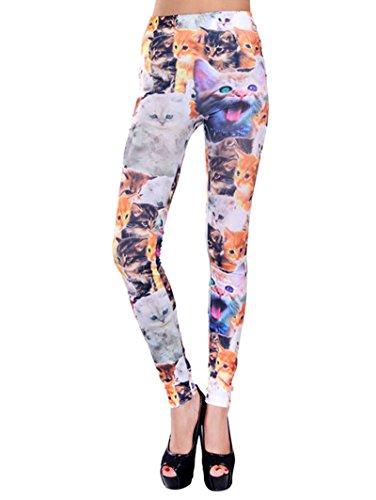 Women's Stretchy Comfortable Crazy Art Print Skinny Leggings, Cat Print -