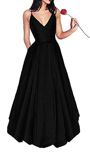 Straps Satin Evening Dress (Women's Elegant V Neck Prom Dresses 2018 Long Spaghetti Straps Satin Evening Party Dress With Pockets JA047 US16 Black)
