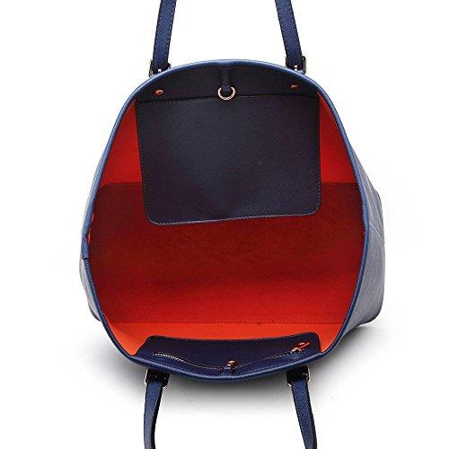 LeahWard Oversize Damen Shopper Taschen Qualität Faux Leder Umhängetasche Handtaschen für Frauen Schulferien CW31 (Silber) Blau Oben offen b7XaAeH