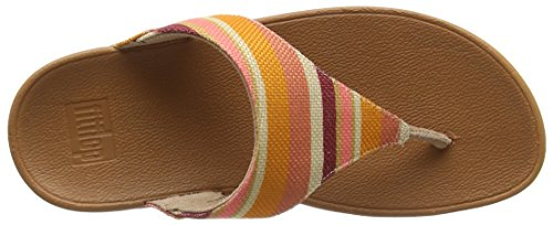 Fitflop Lulu Toe-Thong Sandals-Stripey Canvas, Sandalias con Punta Abierta Para Mujer Orange (Orange Stripey)