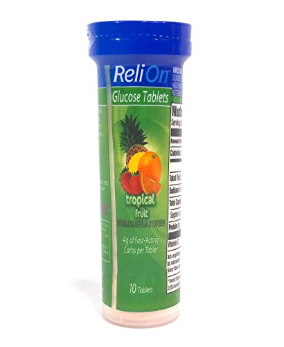 ReliOn Glucose Tropical Fruit Tablets, On-The-Go Tube, 10 Tablets.