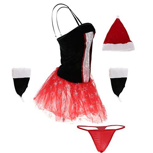 Vestido de negro Sombrero Decoración de Tangas Navidad Noche Baoblaze Ropa Traje Guantes Disfraces rojo ZFxqIt
