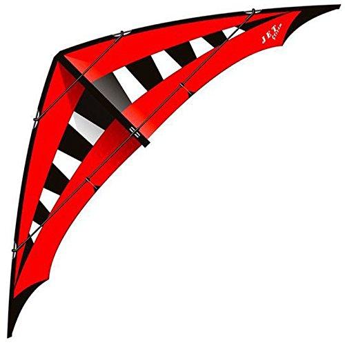 Elliot 1012550 Jet Stream Strong, Zweileiner-Lenkdrachen, 285 x 90 cm, schwarz/weiß/rot, Kohlefaser/Cfk-Rohr 8/10 mm