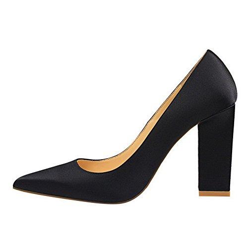 Amoonyfashion Kvinnor Blandningsmaterial Pekade-toe Kick-häl Pådrag Pumpar-shoes Svarta