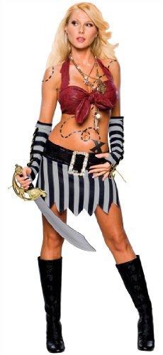 Secret Wishes Women's Caribbean Treasure Adult Sassy Costume, Multicolor, Small (Sassy Pirate Costume)