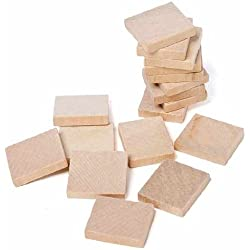 Light Color Unfinished Wood Square Plain Tiles for Crafting, Altered Art, and Embellishing- 36 pc