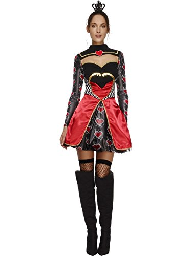 Smiffy's Women's Fever Queen Of Hearts Costume, Dress, Attached Underskirt and Mini Crown, Once Upon a Time, Fever, Size 14-16, 43479