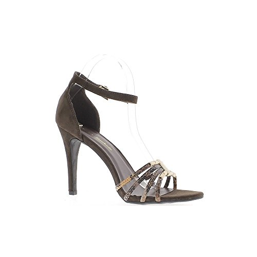 Sandales grande taille marron à talon de 11cm aspect daim et serpent