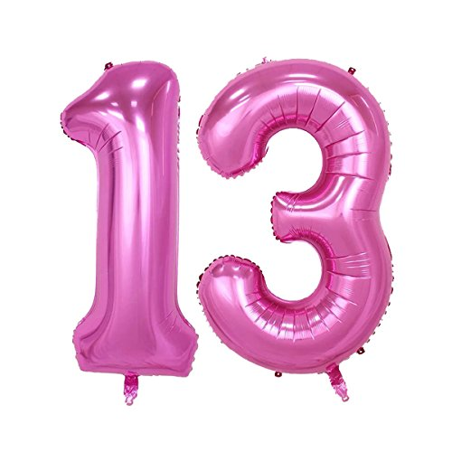 40inch Pink Number 13 Jumbo foil Helium Balloons for Bithday Party Festival Decorations Photo Props (Pink -