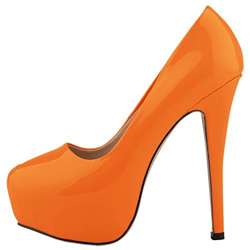 Donna Sexy Piattaforma Punta Chiusa Tacco A Spillo Semplice Abito Pompa Pu Arancione