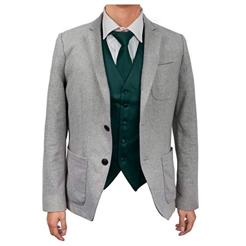 - Dan Smith DGDE0005-L Dark Green Find Vest Solid Microfiber Casual Waistcoat Satin For Business Vest Matching Neck Tie