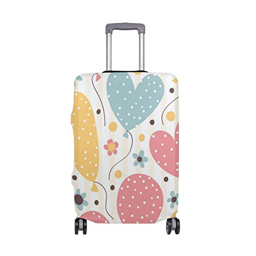Cute Striped Birthday Love Heart Suitcase Luggage Cover Protector for Travel Kids Men Women by ALAZA