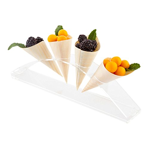 (12-inch Half Circle Food Cone and Sushi Hand Roll Display Stand: Perfect for Restaurants, Catered Events, and Buffets - Holds 4 Cones - Made from Organic Bamboo - 1ct Box - Restaurantware)