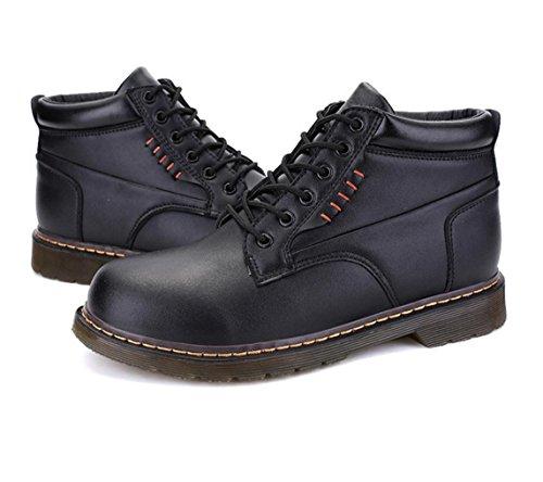resbalón ocasional Los nuevos cargadores high-top de los hombres de los zapatos a mano de costura de la moda de los hombres resistentes granulados Herramientas Black