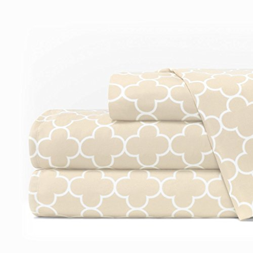 - Italian Luxury 1600 Series Hotel Collection Clover Pattern Bed Sheet Set - Deep Pockets, Wrinkle and Fade Resistant, Hypoallergenic Sheet and Pillowcase Set - King - Cream/White