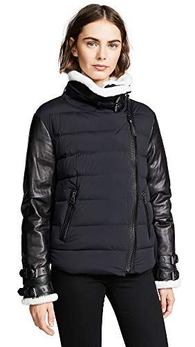Mackage Women's Jovie Off White Inner Collar & Cuff, Leather Jacket Sleeves & Trim, Black, XS (Black Leather Jacket With White Fur Collar)
