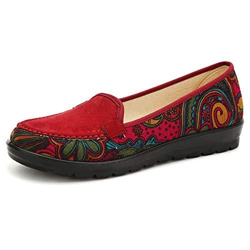 ZHRUI Mocassini donna stampa floreale Scarpe comode e piatte con risvolto (Colore : Rosso, Dimensione : EU 39)Rosso