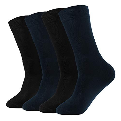 David Archy Mens 4 Pack Cotton Ultra Soft Thermal Heavy Thick Warm Knit Dress Trouser Socks
