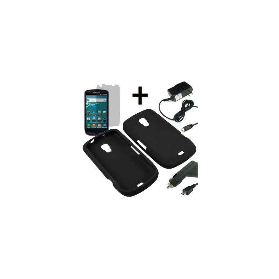 BC Silicone Sleeve Gel Cover Skin Case for U.S. Cellular Samsung Galaxy S Aviator R930 + LCD + Car + Home Charger  Black