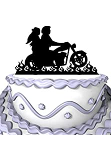 Amazon motorcycle funny wedding cake topper mr mrs bride groom meijiafei wedding cake topper bride and groom motorcycle silhouette for rustic wedding anniversary decoration junglespirit Image collections