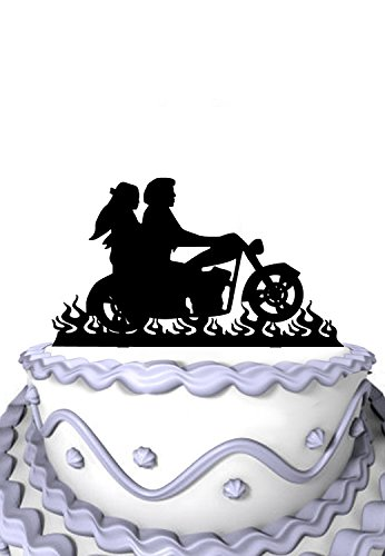 Meijiafei Wedding Cake Topper - Bride and Groom Motorcycle Silhouette for Rustic Wedding Anniversary Decoration by Meijiafei