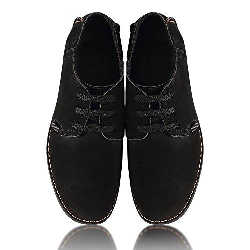 Chaussures En Cuir Avec Chamaripa Homme Lacets, Noir Et Bleu - 6,5 Cm De Plus - X58h56 (37, Noir)