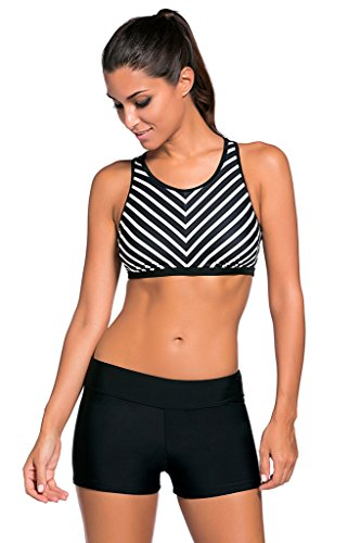 Milakoo Womens Bikini Set Black Striped Sport Bra Two-Piece - Bra Womens Sports Swim