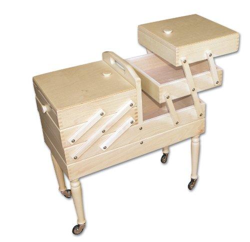Aumueller - Cassetta da cucito, in legno di faggio, dimensioni: 50 x 25 x 54 cm, colore: legno chiaro 31/202/1