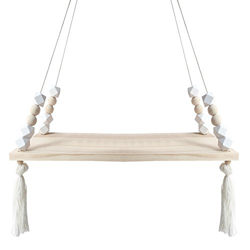 laamei Hanging Rope Floating Wooden Shelves Macarons Display Wall Hanging Shelf Swing Rope Home Decor(15x5.5inches)