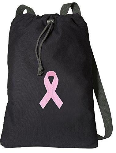 Pink Ribbon Drawstring Backpack RICH CANVAS Pink Ribbon Cinch ()