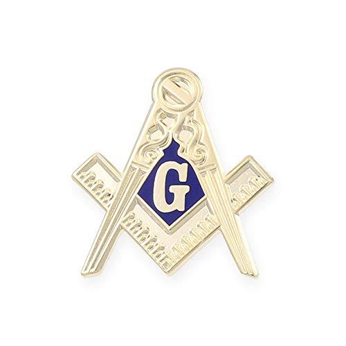 (Forge Masonic Compass Enamel Cufflink + Lapel Pin + Tie Bar (Gold Lapel)