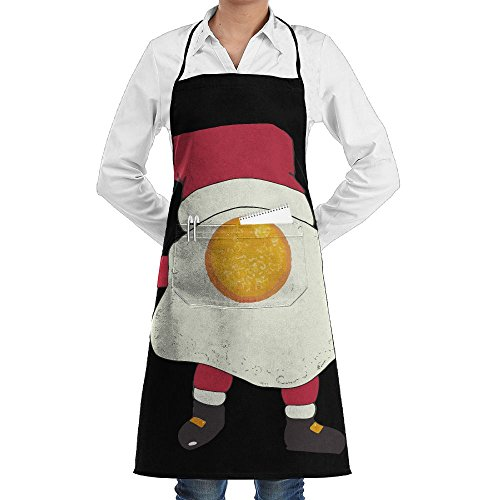 Novelty Fried Egg Nog Santa Kitchen Chef Apron With Big Pockets - Chef Apron For Cooking,Baking,Crafting,Gardening And (Santa Bbq Apron)