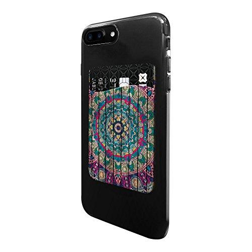 Fincibo Ultra Slim Self Adhesive Universal Credit Card Holder Wallet For All Smart Mobile Cell Phones  Bohemian Blue Mandala Wood Look