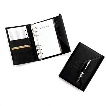 Cross Autocross piel, agenda personal, negro, lápiz incluido ...